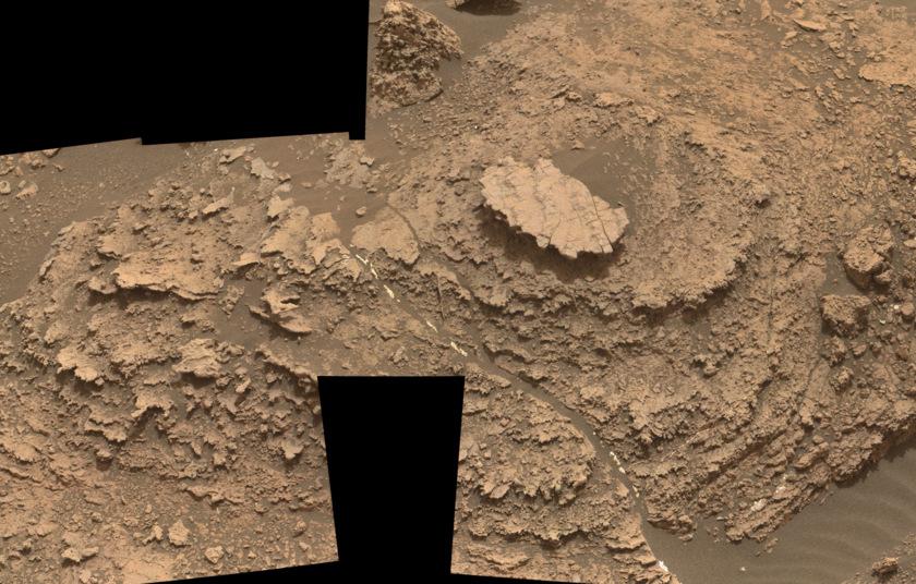 Nodule-filled bedrock outcrop, Curiosity sol 1482