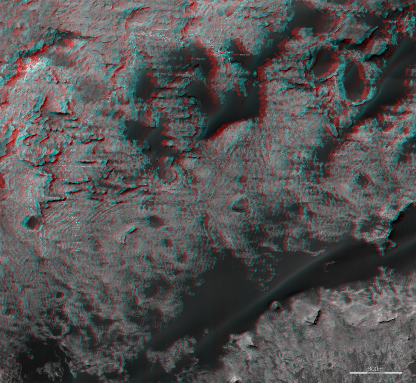 3D route map for Curiosity: Across the Bagnold dune field, sols 1153-1487
