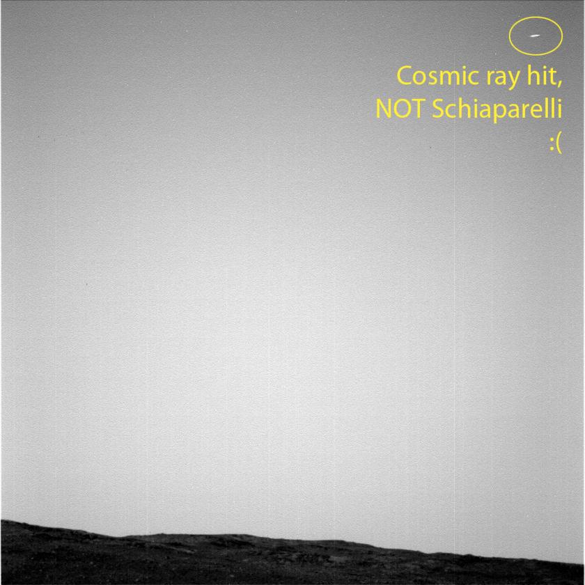 Opportunity's unsuccessful attempt to image Schiaparelli