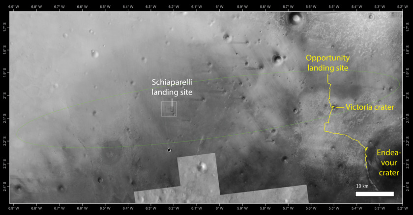 Go for Arrival at Mars: Europe's ExoMars 2016 20161021_Schiaparelli_landing_site_opportunity_f840
