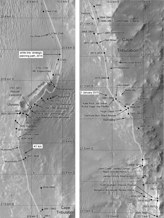 Phil Stooke's Opportunity route map: Cape Tribulation (sols 3744-3929)