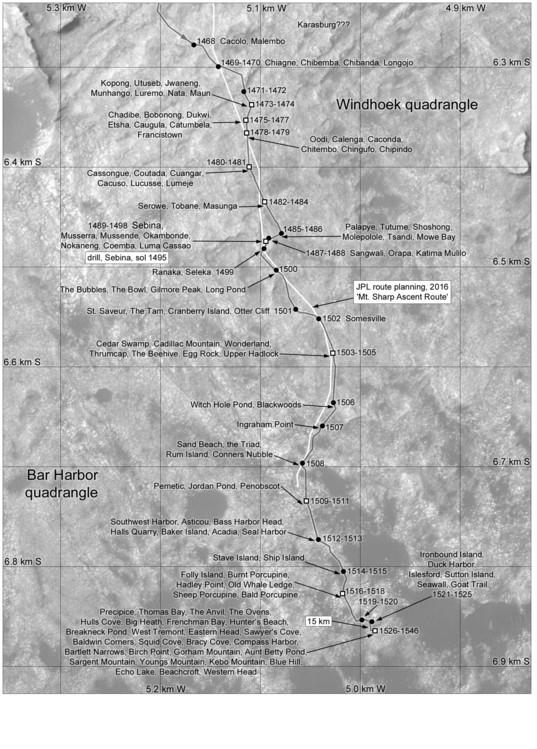 Phil Stooke's Curiosity route map: Sebina and Precipice, sols 1468-1546