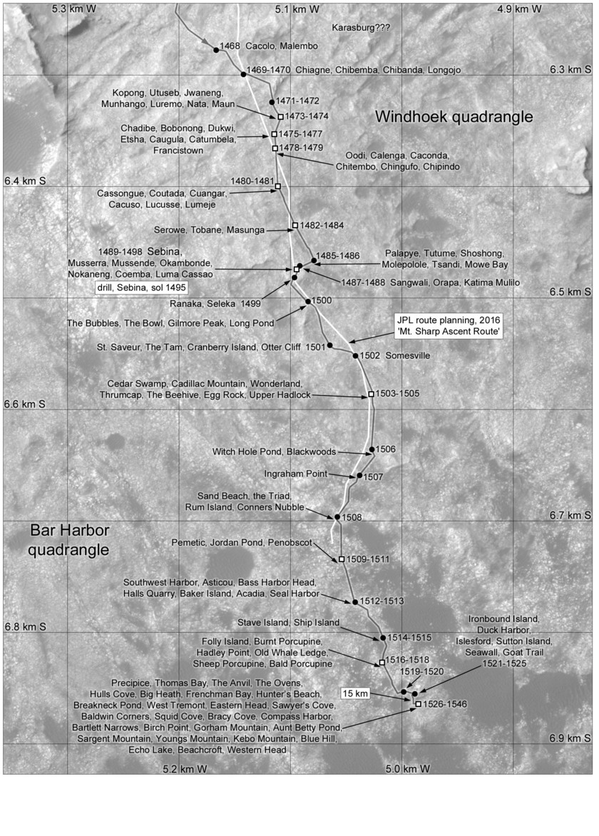 Phil Stooke's Curiosity route maps (updated to sol 1546)