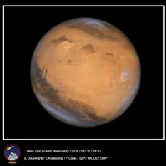 Mars near opposition from Pic du midi Observatory, 2016
