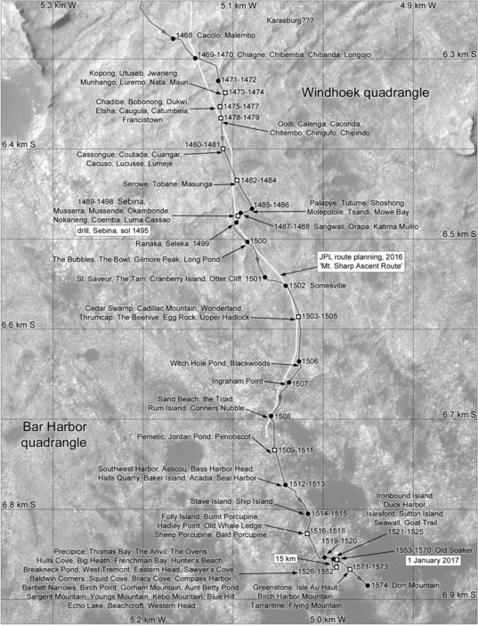 Phil Stooke's Curiosity route map: Sebina and Precipice, sols 1468-1574