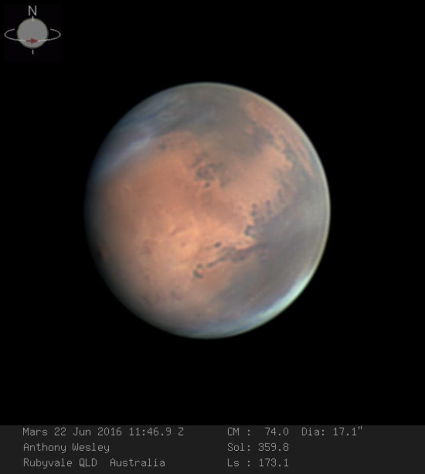 Mars, as seen on June 22, 2016