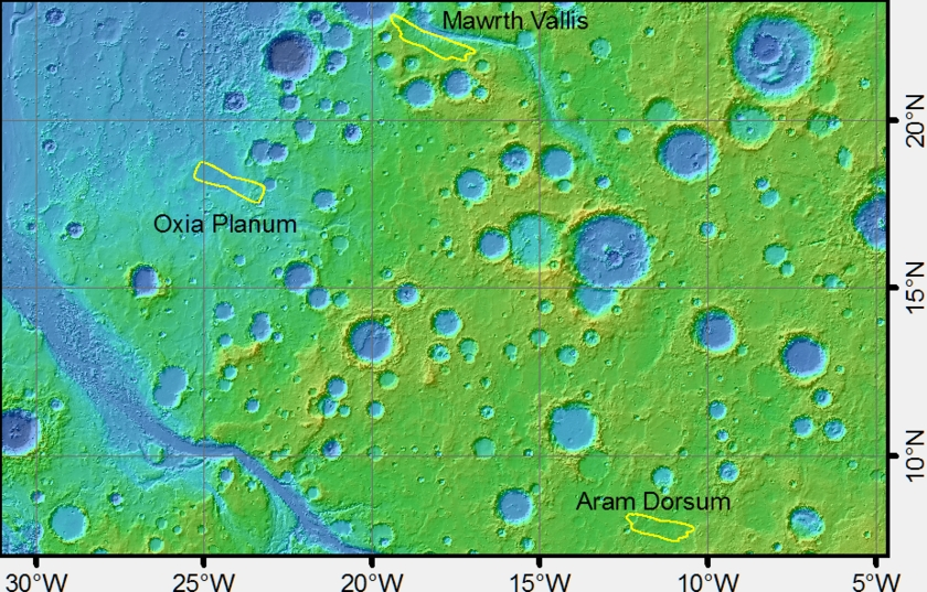 Candidate ExoMars landing sites in Arabia Terra