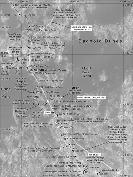 Phil Stooke's Curiosity route map: southern Bagnold Dunes, sols 1576-1697