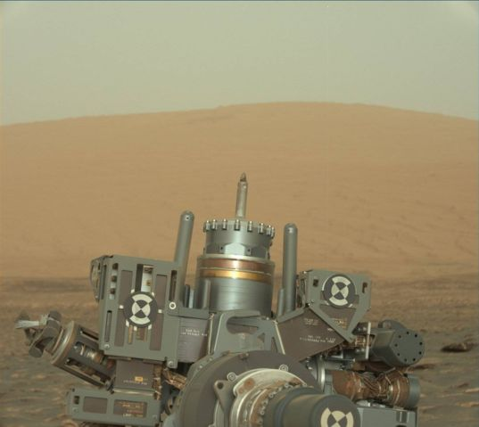 Curiosity's drill feed fully extended, sol 1780