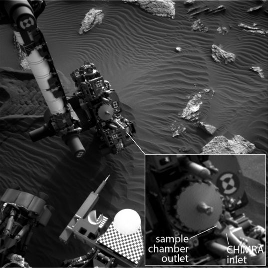 Alignment of the Curiosity drill sample chamber outlet and the CHIMRA sample inlet