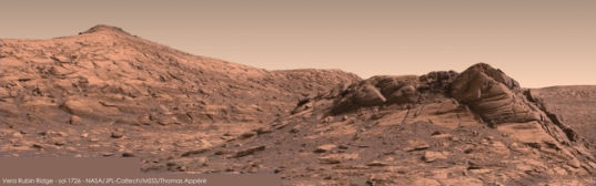 Vera Rubin Ridge from survey stop 1, Curiosity sol 1726