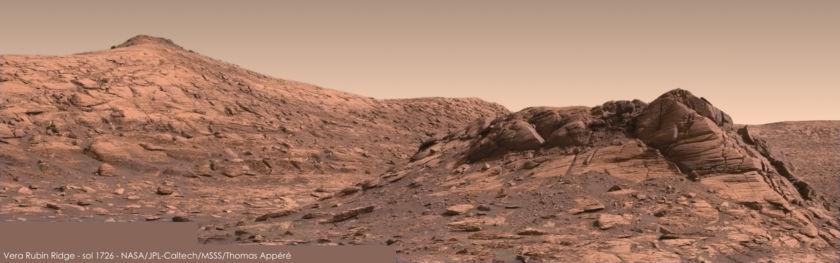 Vera Rubin Ridge from survey stop 1, Curiosity sol 1726
