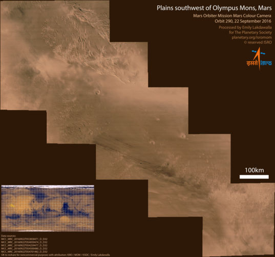 Plains southwest of Olympus Mons, Mars