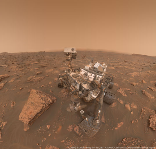 Curiosity self-portrait at Duluth, under dusty skies, sol 2082
