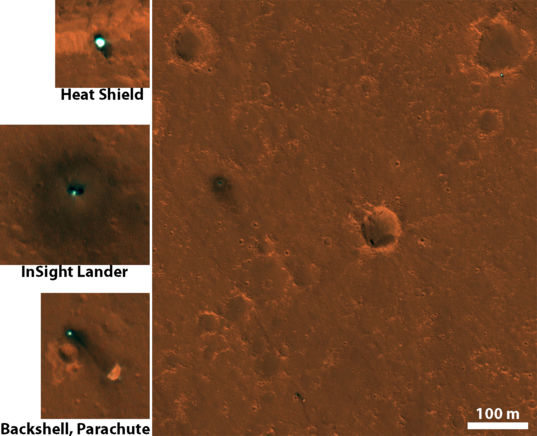 HiRISE images of InSight hardware on Mars