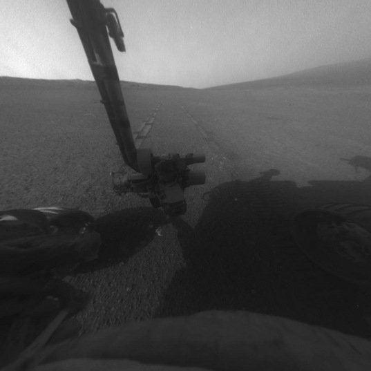 Front Hazcam image at the end of the sol 3310 drive