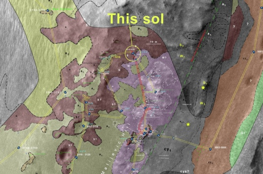Geologic map of Opportunity's location as of sol 3215