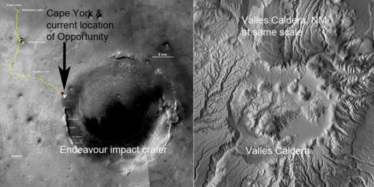 Endeavour Crater, Mars and Valles Caldera, New Mexico