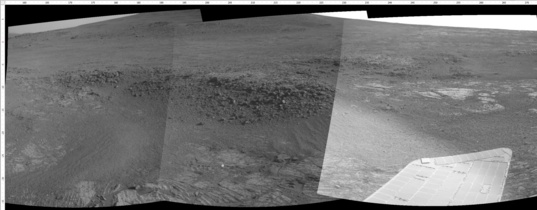 Opportunity Navcam mosaic of Solander Point