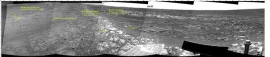 Opportunity Navcam mosaic, sol 3431