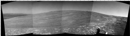 Opportunity Navcam view from sol 3441 looking east across Endeavour Crater