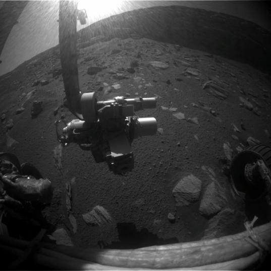 Sunlight glares into Opportunity's Hazcam, sol 1,584