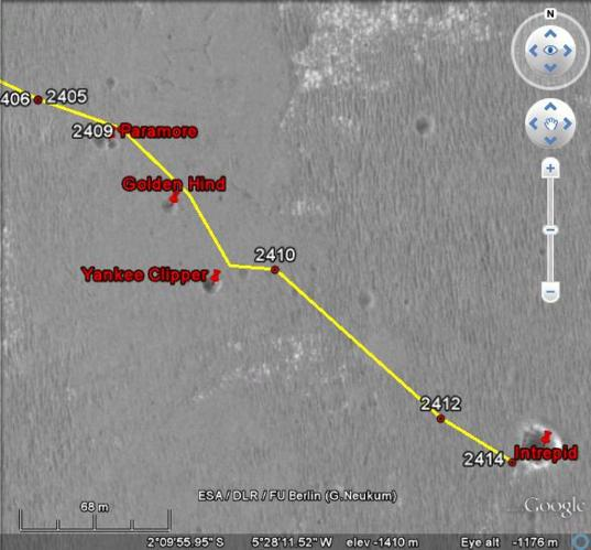 Opportunity's position as of sol 2415
