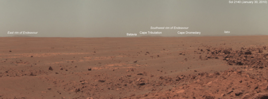 Opportunity horizon panorama, sol 2140