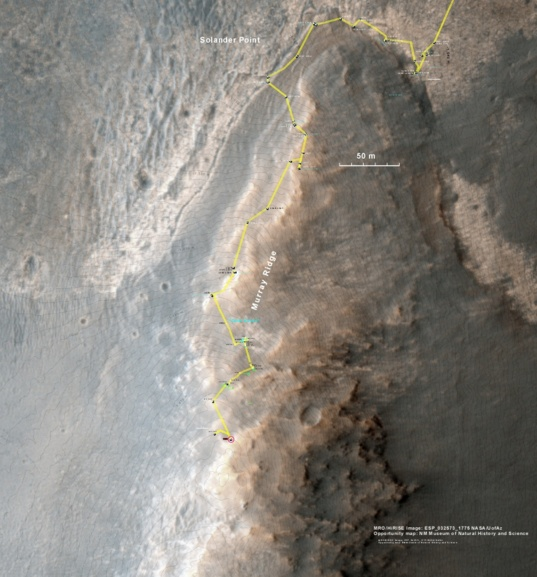 Opportunity's current location on the rim of Endeavour crater and Murray Ridge
