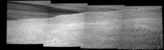 The same scene as above, but the part looking out across the Endeavour crater floor