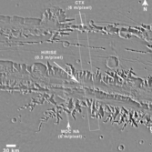 Comparison of CTX, HiRISE, and MOC NA image footprints