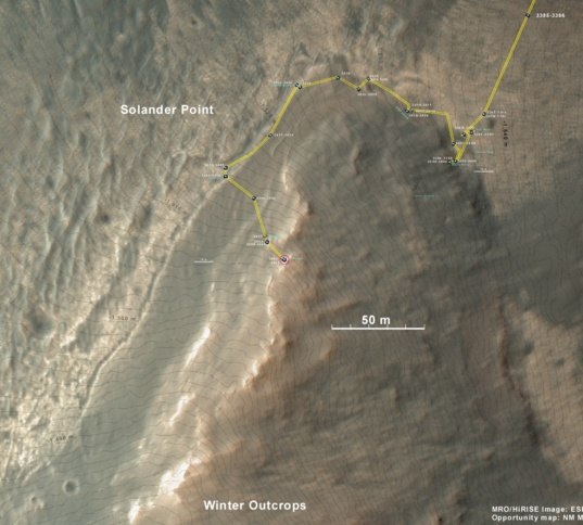 Location of Opportunity on Solander Point on sol 3467