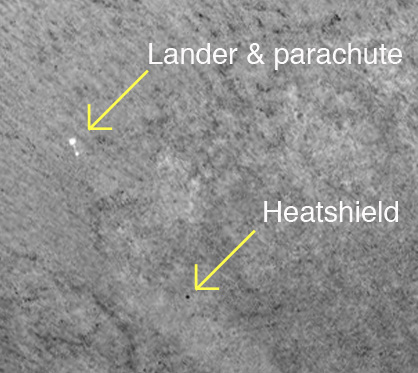 Phoenix lander, parachute, and heat shield