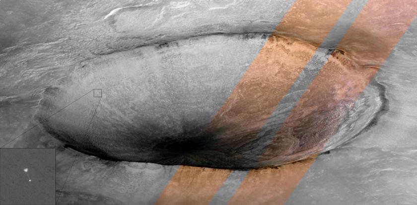 Color version of the 'Phoenix Descending' HiRISE image