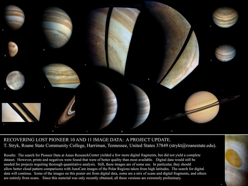 Lunar and Planetary Science Conference poster by Ted Stryk on Pioneer images