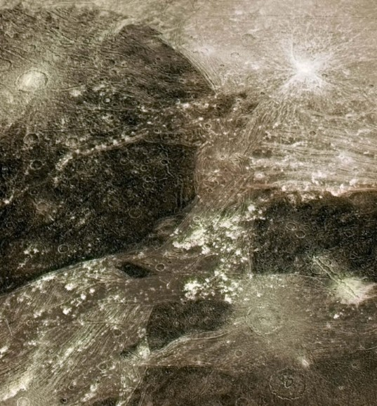 Color mosaic of Ganymede's Perrine Regio from Galileo