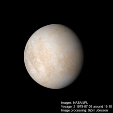 Global view of Europa from Voyager 2
