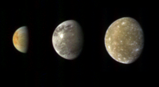 Cassini views of Europa, Ganymede and Callisto