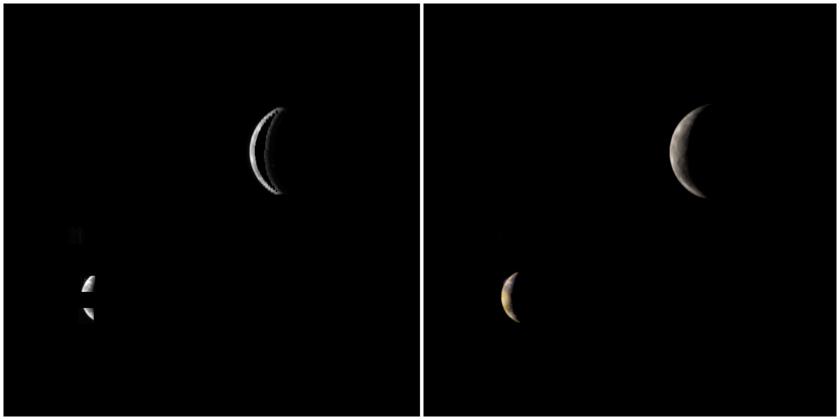 Galileo orbit E4 view of Ganymede and Io