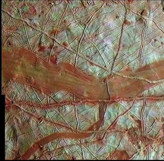 Reddish bands on Europa