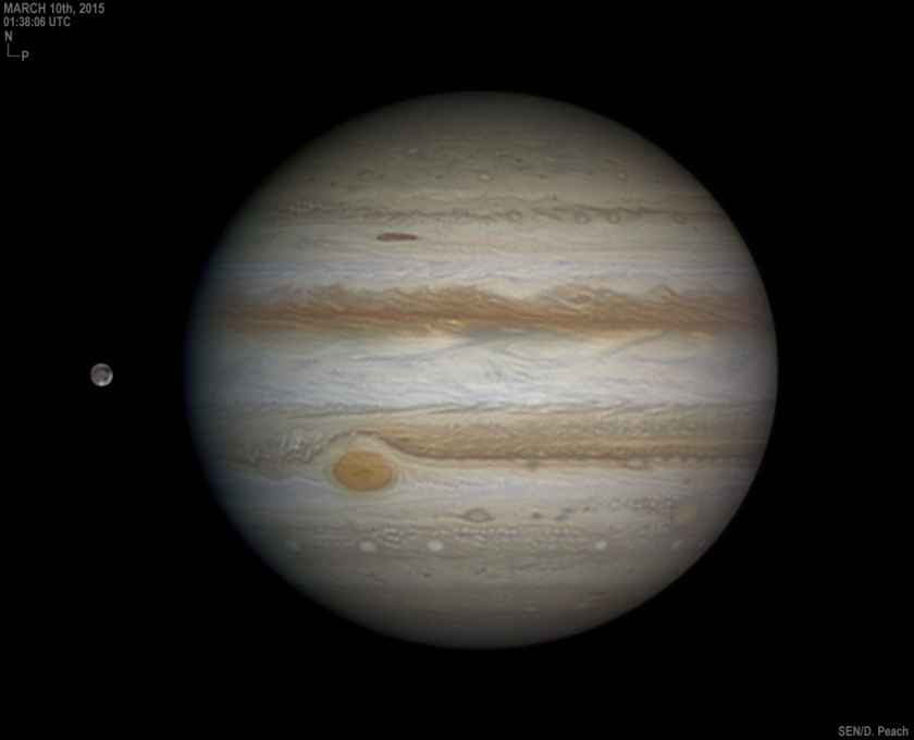 Jupiter and Ganymede on March 10, 2015