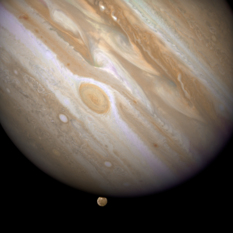 Jupiter and Ganymede from Hubble