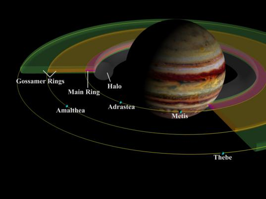 Orbits of Jupiter's small inner satellites and rings