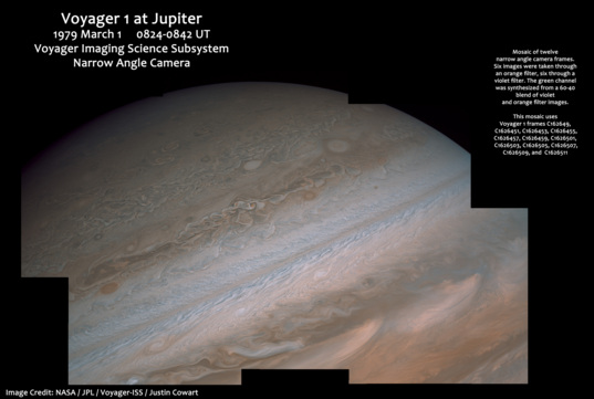 Jupiter's northern hemisphere from Voyager 1