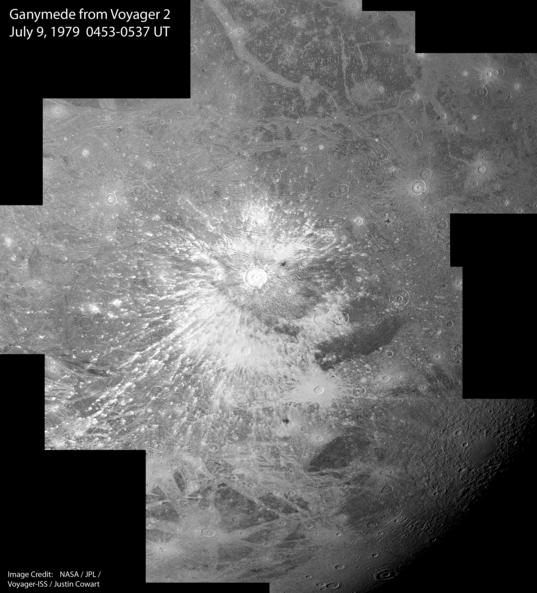 Voyager 2 Ganymede mosaic: Osiris crater