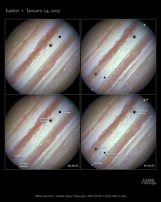 A rare triple moon shadow event on Jupiter