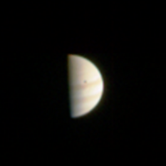 JunoCam approach image of Jupiter with Io shadow