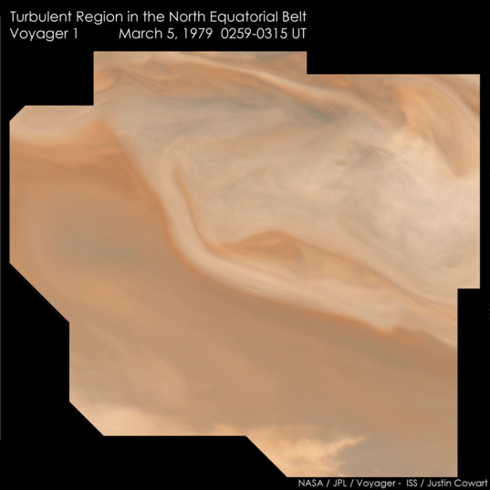 Turbulent region on Jupiter