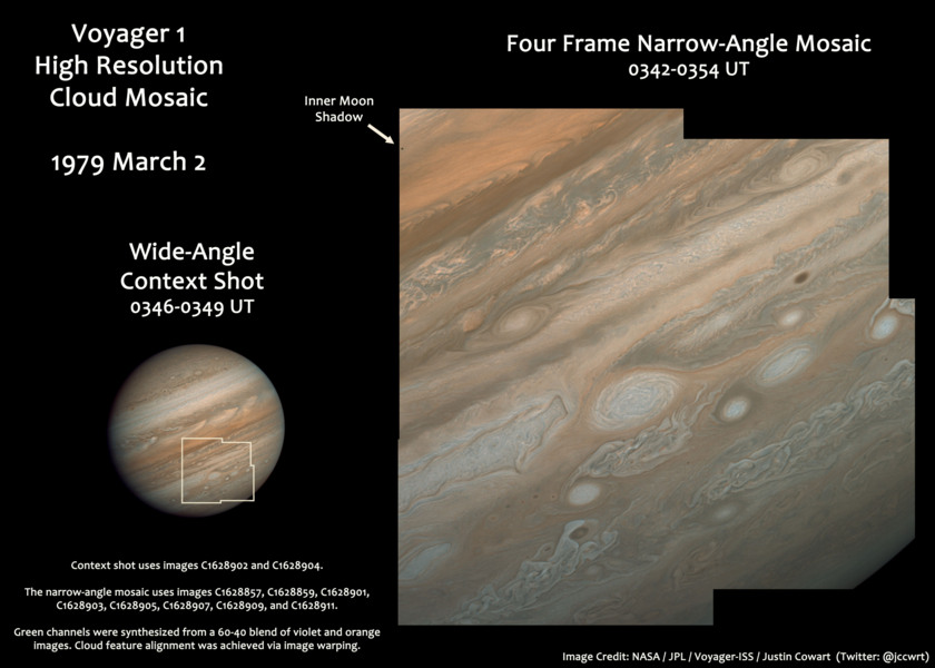 Voyager 1 high-resolution view of clouds on Jupiter