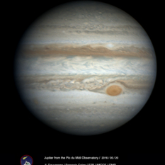 Jupiter on May 20, 2016, from Pic du Midi Observatory